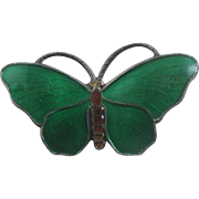 Norwegian guilloche enamel & sterling silver butterfly brooch pin by Finn Jensen vintage c1950