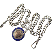 Sterling silver double graduating albert watch chain with enamel pendant fob antique Edwardian 1915 English marks