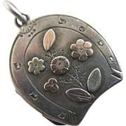 Lucky horseshoe & forget not flower 9k 9ct gold sterling silver double pendant locket antique Victorian English hallmarks