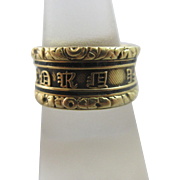 Enamel 18k 18ct gold inscribed mourning ring antique Georgian 1820 English hallmarks a/f