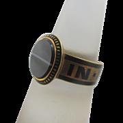 Enamel banded agate 18k 18ct gold locket mourning ring antique Victorian English hallmarks 1876