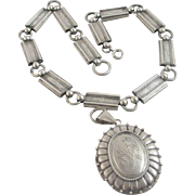 Sterling silver double pendant locket book chain necklace antique Victorian c1880