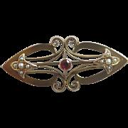 Garnet & seed pearl 9k 9ct gold brooch pin antique Victorian c1890