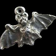 Sterling silver flying bat pendant charm Vintage c1970