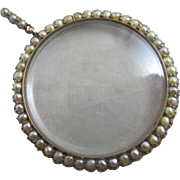 Seed pearl 9k 9ct gold pendant locket antique Victorian c1860