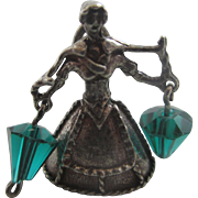 Nuvo marked Jill from the nursery rhyme Jack & Jill carrying pales of water sterling silver & paste pendant charm vintage c1960