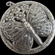 Huge sterling silver butterfly pendant vintage Art Deco c1920