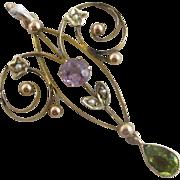 Suffragette peridot seed pearl & amethyst 9k 9ct gold dangling pendant lavalier antique Edwardian c1910