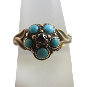 Turquoise & ruby 15k 15ct gold locket mourning ring size UK S+/ US 9.5 antique Victorian c1860