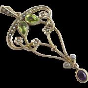 Suffragette peridot, seed pearls & amethyst 9k 9ct gold dangling pendant lavalier antique Edwardian c1910