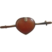 Carnelian heart 9k 9ct rose gold brooch pin antique Victorian c1890