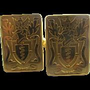 9k 9ct gold family crest cufflinks vintage 1982 English hallmarks