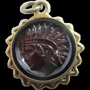 Native American head tasse glass 9k 9ct gold cased double pendant fob vintage Art Deco c1920