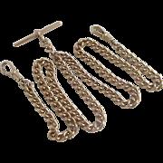9k 9ct gold double albert watch chain necklace antique Victorian c1890