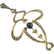 Huge seed pearl sapphire paste 9k 9ct gold pendant antique Victorian c1890