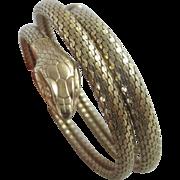 Coiled snake 9k 9ct rolled gold bangle bracelet vintage Art Deco c1920