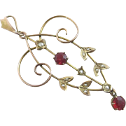 Ruby paste & seed pearls 9k 9ct gold dangling pendant lavalier antique Victorian c1890