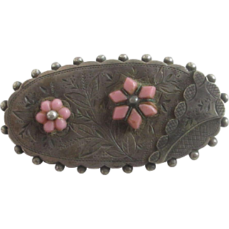 Paste sterling silver flower locket brooch pin antique Victorian c1890.