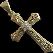White sapphire 9k 9ct gold cross pendant vintage c1970.