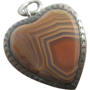 Agate sterling silver braided hair mourning heart pendant charm antique Victorian c1890.