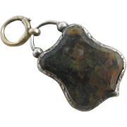 Moss agate in sterling silver padlock mourning locket pendant charm antique Victorian c1890.