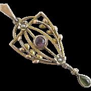 Suffragette 9k 9ct gold dangling pendant lavalier antique Edwardian c1910.