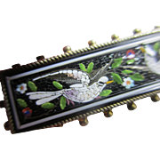 Doves of peace micro mosaic brooch pin antique Victorian c1860.