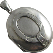 Sterling silver buckle double pendant locket antique Victorian c1880.