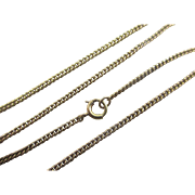 """14k 14ct yellow gold cain link necklace 38.5 cm /15.1"""" vintage Art Deco c1920."""
