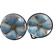 By Scooters Paris forget me not Essex crystal lever back earrings vintage c1950.
