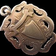 9k 9ct gold watch fob pendant antique Edwardian 1917 English hallmarks.
