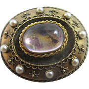 Amethyst seed pearl 15k 15ct gold locket brooch pin antique Victorian c1860.