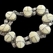 Celluliode scarab beetle sterling silver bracelet vintage Art Deco c1920.