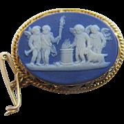 Royal blue jasperware cherub torch bearer 9k 9ct gold Wedgwood brooch pin antique Victorian c1860.