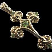 Peridot 14k 14ct gold cross pendant vintage millennium 2000 English hallmark.