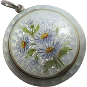 Guilloche enamel daisy flower sterling silver compact pendant antique Edwardian 1912 English hallmark.