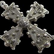 Sterling silver filigree cross pendant antique Georgian c1790.