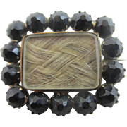 Whitby jet 15k 15ct gold braided hair mourning brooch pin antique Georgian c1820.