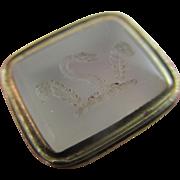 Intaglio chalcedony family crest fob seal pendant 15k 15ct gold antique Victorian c1840.