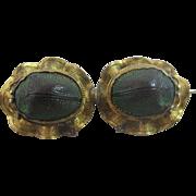 Egyptian Revival scarab beetle brooch pin vintage Art Deco c1920.