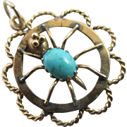 Turquoise 18k 18ct gold spider pendant charm antique Victorian c1890.