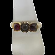 Ruby & faux diamond 18k 18ct gold ring size UK R+ / US 9 antique Edwardian c1910.