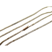 """9k 9ct yellow gold chain link necklace 44.2cm 17.4"""" antique Victorian c1890."""
