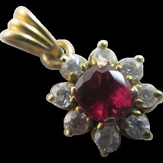 Ruby 18k 18ct gold pendant vintage Art Deco c1930.