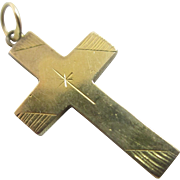 18k 18ct yellow gold cross pendant vintage Art Deco c1920.