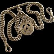 Masonic pendant fob 9k 9ct rose gold double albert watch chain antique Victorian c1890.