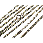 9k 9ct yellow gold long guard chain necklace antique Victorian c1860.