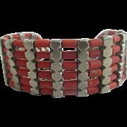 Real coral sterling silver bracelet vintage Art Deco c1920.