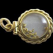 Forget me not flower 15k 15ct gold pendant necklace separator antique Victorian c1860.