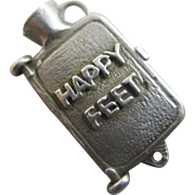 Opening 'happy feet' hot water bottle sterling silver pendant charm Vintage c1960.